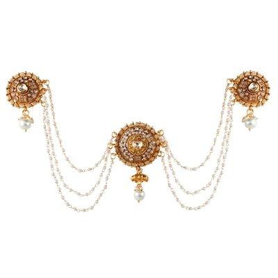 9blings Bollywood Bridal Cubic Zirconia Kundan Pearl Gold Plated Copper Bun Pin Hair Accessories