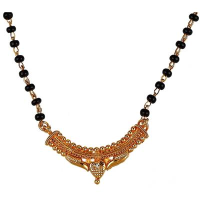 9blings New Fancy Look Black Gold Beads Gold Plated Zinc Alloy Mangalsutra available at Paytm for Rs.69