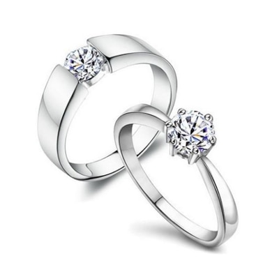 Aaishwarya Unique And Classy 18k Plated Zircon Silver Finish Couple Rings/ Promise Rings