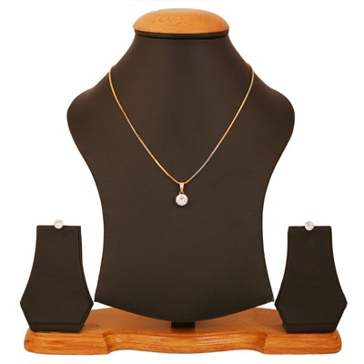 AD Gold Plated Solitaire Modern & Trendy Pendant Set by Prakasini