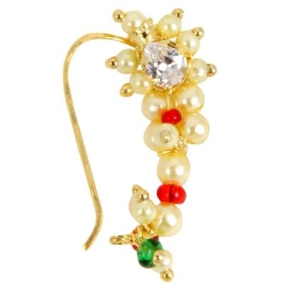Adoreva Gold Red Green White Combination Maharashtrian Nath Nose Ring for Women