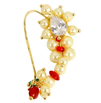 Adoreva Gold Red Green Combination Maharashtrian Nath Nose Ring for Women