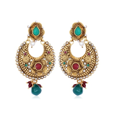 Adwitiya Collection Pearls Stones And Gold Earrings for Women