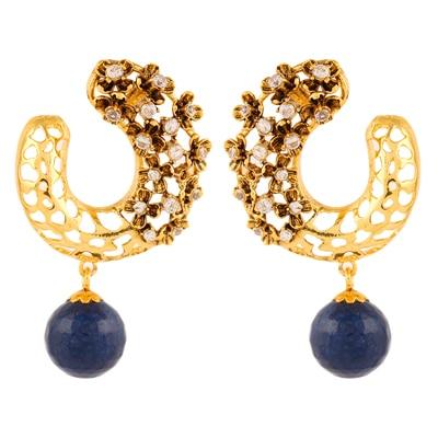 Adwitiya Collection Cz Beautiful Blue Earrings