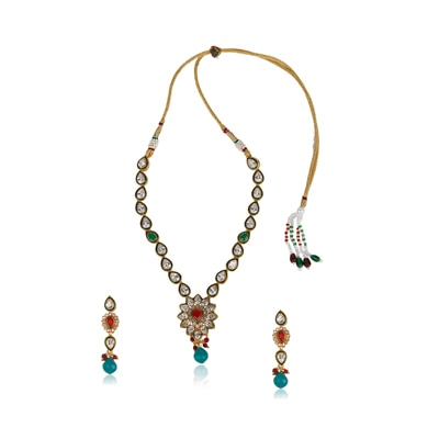 Adwitiya Collection 24 Ct Gold Plated Necklace With Kundan And Stones Works