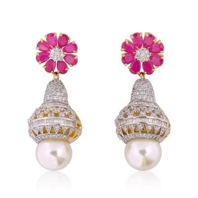 Adwitiya Collection Pink Stones With Diamonds Earrings for Women