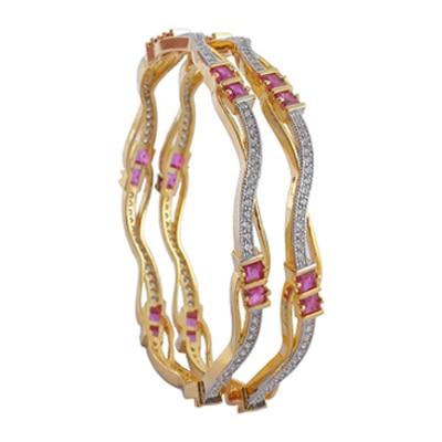Adwitiya Collection Diamond Bangle With Curves And Pink Stones