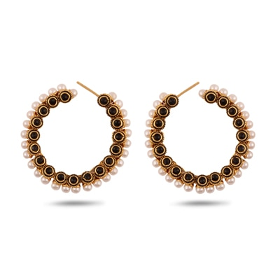 Adwitiya Collection Beautiful Ad-Black Stone Finished Earrings for Women