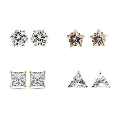 Archi Collection Gold Plated Combo Of Cz Stud Earring