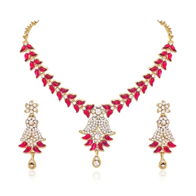 Atasi International Pink  And Gold Necklace Set