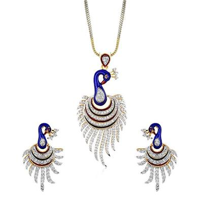 Awww CZ Designer Pendent Set / Jewellery set with Chain and Earrings