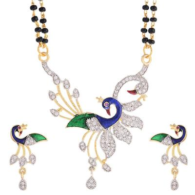 Awww Dancing Peacock American Diamond Gold Plated Mangalsutra with Chain for Women