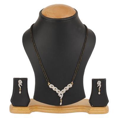 Awww Desinger Golden Alloy Mangalsutra & Earring Set for Women