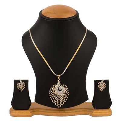 Awww Desinger Golden Alloy Pendent & Earring Set for Women