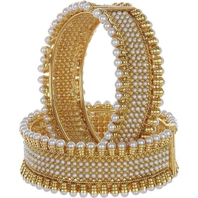 Awww Gold Plated Royal Look Copper Pearl Embedded Bangles for Women