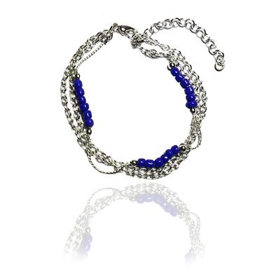 Beadworks Beaded Blue Anklets for Women(AKL-57-Blue)