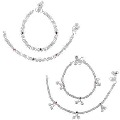 Beadworks Pack of 2 Pair Anklets for Girls & Women(COMBO-AKL-2-18)