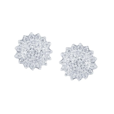 """Beautiful Sparkling Diamond Earrings By Sangini Crafted in 18 KT Gold and Get MMT Free Gift Voucher get """" , Free Diamond Jewellery & Teddy Bear"""