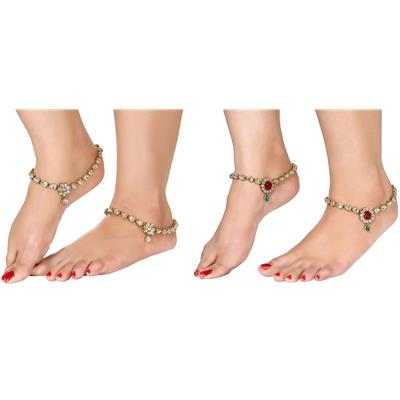 Charms Golden Ethnic Antique Kundan Studded Alloy Anklet Combo