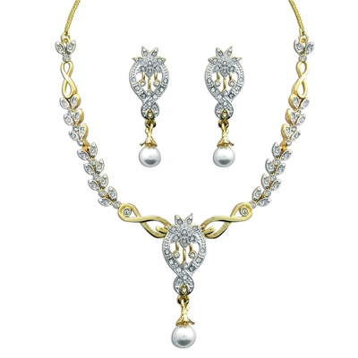 Dg Jewels 24K Gold Plated Beautiful Pearl Necklace Set-Cns9157