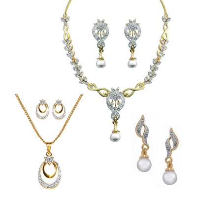 Dg Jewels Collection Of  1 Necklance; 1 Pendant; 1 Pair Of Earring.-Dgpscombo033