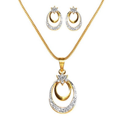 Dg Jewels 24K Gold Plated Bollywood Pretty Pendant Set-Cps8060