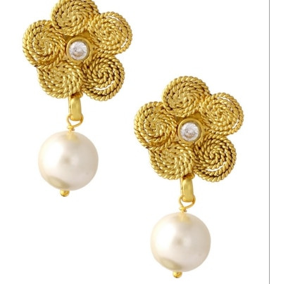 Dg Jewels Gold Floral Design Earring-ER134