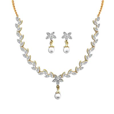 Dg Jewels Gold Plated Floral Pearl Necklace Set-Cns9276