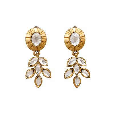 Dg Jewels Leafy Kundan Earrings-ER4008WH
