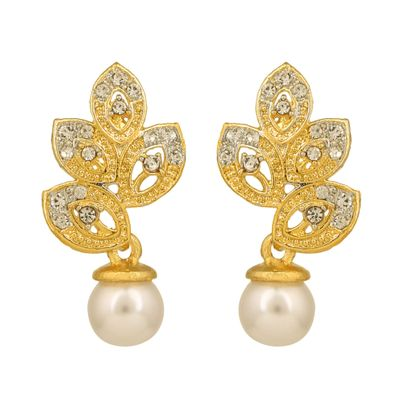 Dg Jewels Leafy Pearl Earring-CER1010