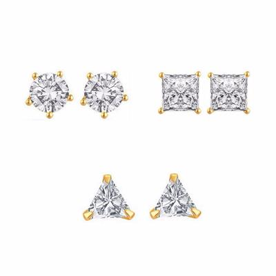 Efulgenz Combo of Gold Plated CZ 2 Pair of Earrings