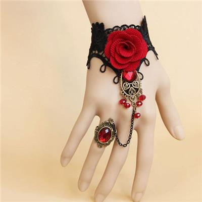 Elegant Gothic Style Lace Red Rose Bracelet with Adjustable Finger Ring # International Bazaar
