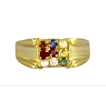 Exxotic Jewelz Navratna Sterling Silver Ruby, Sapphire, Emerald, Pearl, Cat's Eye 24K Yellow Gold Ring
