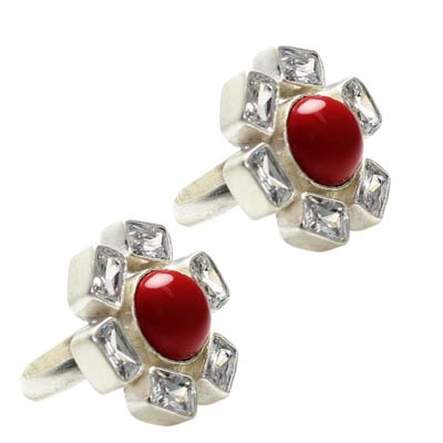 Frabjous Traditional Red Moonga with Zircon Crsytal German Silver DangleToe Ring ... For Women