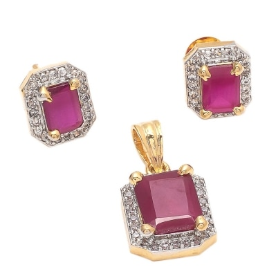 Geode Delight Ruby Pink Color Stone American Diamond Pendant SetPlus Free KeyRing