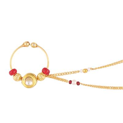 Gold finish with white polki small nose ring