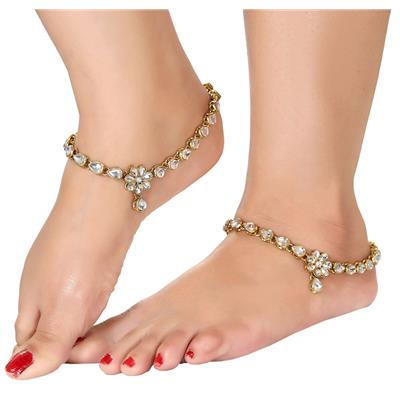 Gold Plated Kundan Studded Anklets Payal For Girls & Women by Charms