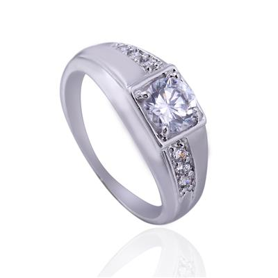 Hot White Gold Plated Rectangle Emerald Cut CZ Diamond Wedding Ring 19MM