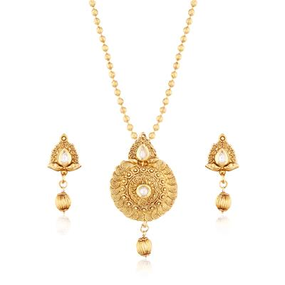 I Jewels 24K Gold Plated Traditional Pendant Set with Designer Chain for Women MS108W