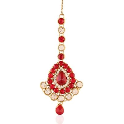 I Jewels Red Maang Tikka
