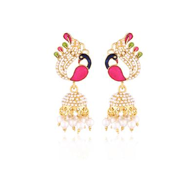 I Jewels Traditional Gold Plated Peacock Shaped Meenakari Jhumki Earrings for Women EMS115