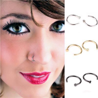 Imported 3 Pair Stainless Steel Horsehoe Spike Circular Nose Ring Hoop Body Piercing