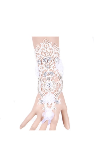 World Store!! Imported Lace Hollow Flower Crystal Rhinestone Ring Bracelet Glove Set Wedding Bride By Paytm @ Rs.249