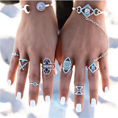 Imported Set of 8 Vintage Beach Geometric Knuckle Finger Band Ring Set Antique Silver