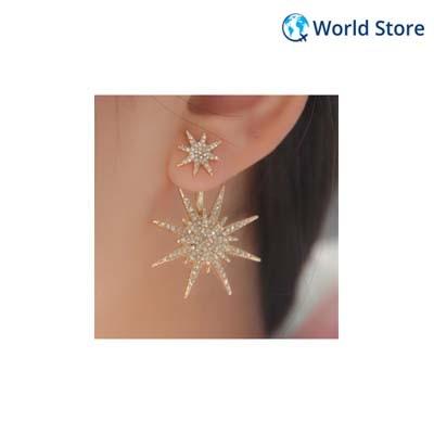 Generic Imported Women Elegant Crystal Rhinestone Dangle Gold Star Stud Earrings