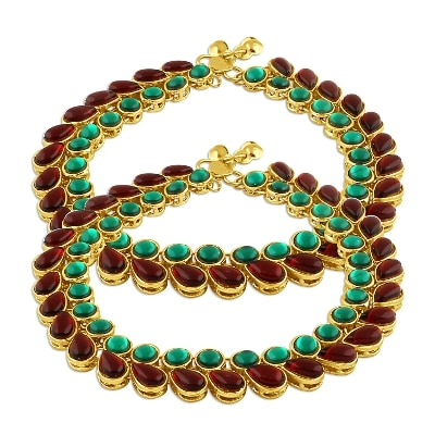 Inaya Gold Plated Multicolor Stone Payal;1 Set