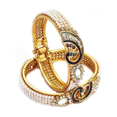 JDX White And Gold Alloy Bangles