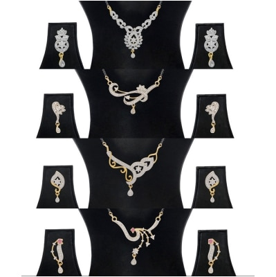 Jewels Galaxy Gold-Plated Multi-Colour Mangalsutra Set With Earrings For Women Combo Of 4