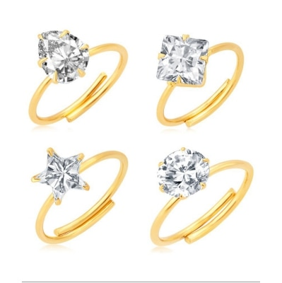 Jewels Galaxy Dazzling Gold Plated Solitaire Set of 4 Ladies Ring Combo For Women