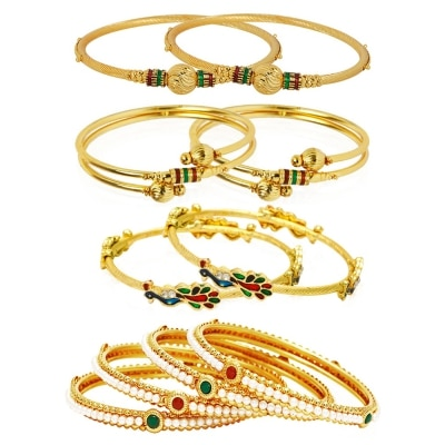 Jewels Galaxy Combo Of Broad Designer Pearls Bangles, Mayur and...